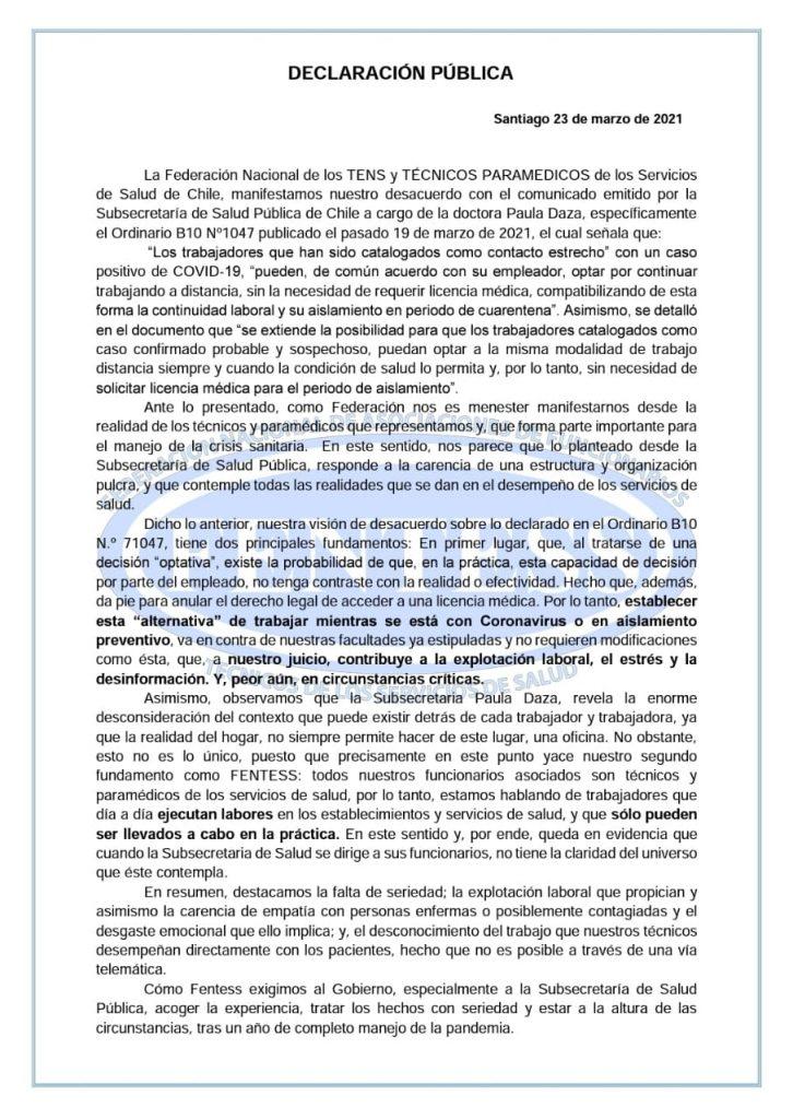 Declaraciones de Fentess Nacional ante el Ordinario B10 Nº1047